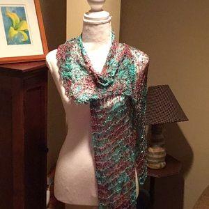 Aqua & pink open weave scarf